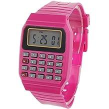 Tongshi Unsex silicona Multiuso Fecha Hora de Pulsera Electrónica Calculadora Reloj(Rojo)