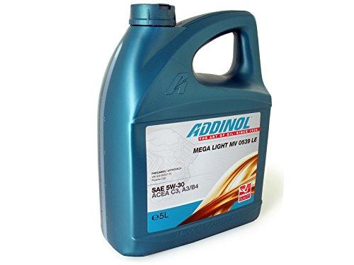 ADDINOL ADDINOL PKW SAE 5W-30 MEGA LIGHT MV 0539, Leichtlauf-Motorenöl, vollsynthetisch, 5 L...