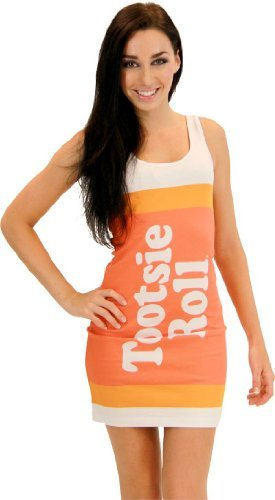 Tootsie Kostüm - TV Store Tootsie Roll Fruit Rolls Candy Orange Kostüm Tank Kleid (Kinder X-Large)