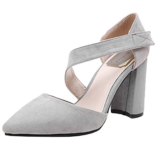 Oasap Women's Pointed Toe Velcro Block Heels Pumps Grey