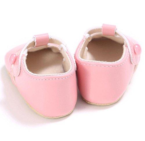 Neugeborene Baby Leder Kleinkind Schuhe Covermason Rutschfest Weiche Sohle Krippe Schuhe Rosa