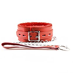 Leather Soft Padded Dog Choker Collar With Chain Detachable Leash