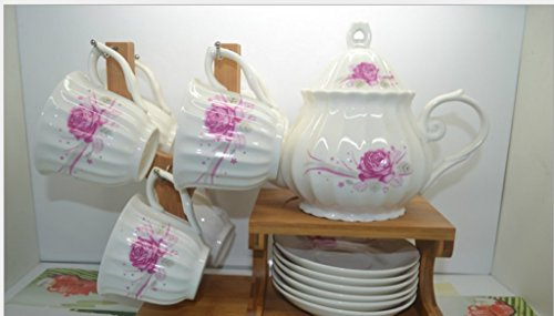 Bone China, 6 Pieces Set (13 pieces)The butterfly lingers over the flower Printed Ceramic Porcelain Tea Cup Set With Lid And Saucer,Bamboo holder is included