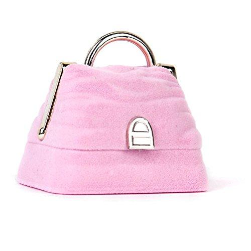 LEORX Terciopelo anillo caja joyería estuche con forma de bolso (rosa)