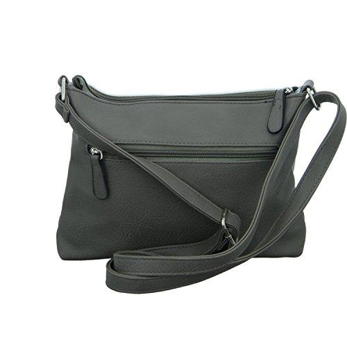 Jewels of Style TCJ87553 Damen Handtasche mit Reißverschluss Grau (Grau)