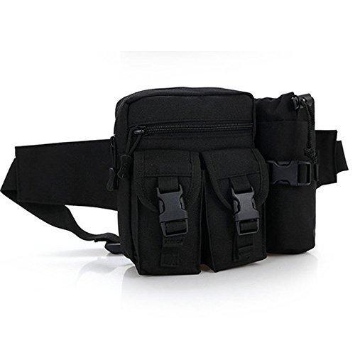 Buwico Multifunktions-Outdoor Tactical Wasserkocher Taille Packungen Abnehmbare Reisen Sundry Paket Tasche für Laufen, Motorrad, Camping, Wandern, Trekking schwarz - schwarz