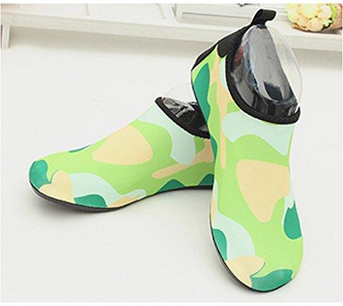 Ecotish Unisexe Femmes Hommes Plongée Chaussures Rock Pantoufles Baignade Mer Plage Danse Yoga Respirant Élastique Matériel Super Slip Super Léger Vert