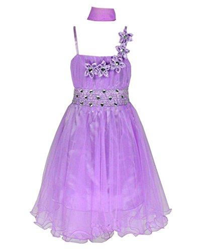 Tüll Brautjungfern Anlässe Festkleid Blumenmädchen Tee-Länge Kleid Lila Gr.134 (L4094-134#)