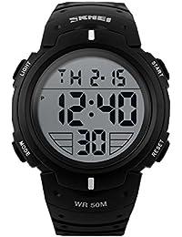 ufengke®Sport Schwimmen Wasserdicht Leucht Kalender Timer Alarm Uhr Licht elektronischer armbanduhren für Männer Jungen-weiß