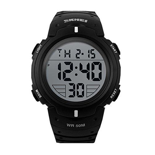 ufengke®Sports piscine imperméable lumineux calendrier horloge alarme horloge lumière électronique montre à bracelet pour hommes garçons-blancs
