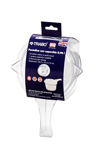 TRABO Pentola per microonde pentolino con coperchio policarbonato 0,9Lt EZ003