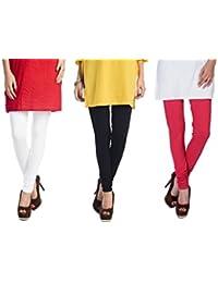 aabf716ed553cb Rupa Softline Girl's Cotton Leggings (White Black Red, Free Size) - Combo  Pack