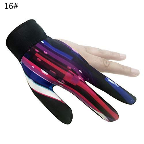 Chou Snooker Handschuh für die Linke Hand, Schwimmbad-Handschuh, Snooker Accessoires, Lycra Anti-Ski, bunt, 16