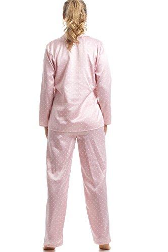 Damen Pyjama aus Satin - Lange Ärmel   Hose - Rosa mit weißen Pünktchen Pink 50b2247a82