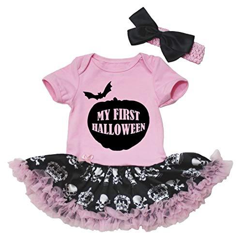 Petitebelle mi Primer Halloween Rosa Body de tutú de Corona de Calave