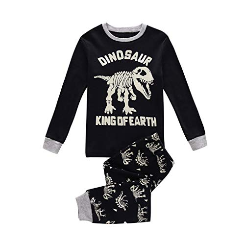 ALISIAM Winter Weihnachten Kind Junge schön Mode Gemütlich Hautfreundlich Karikatur Dinosaurier drucken Lange Ärmel Warm halten T-Shirts und Hosen Trainingsanzug Passen Kinderkleidung