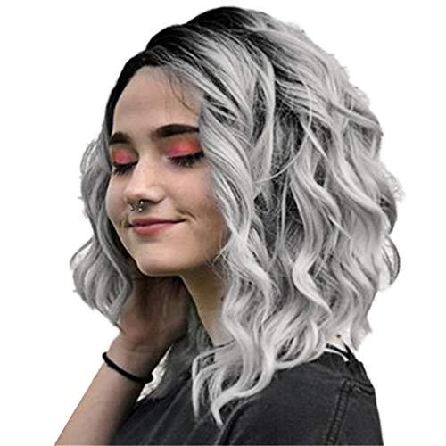 Lai-LYQ Perücke, mit Farbverlauf und Seitenscheitel, gelockt, für Damen, für Cosplay