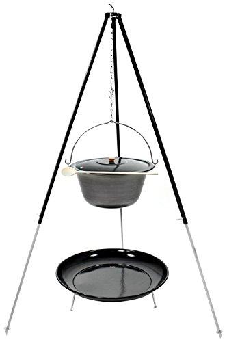 Gulaschkessel Dreibein Set (15 Liter Topf aus Eisen + Deckel + 1,80 m Dreibein + Feuerschale emailliert)