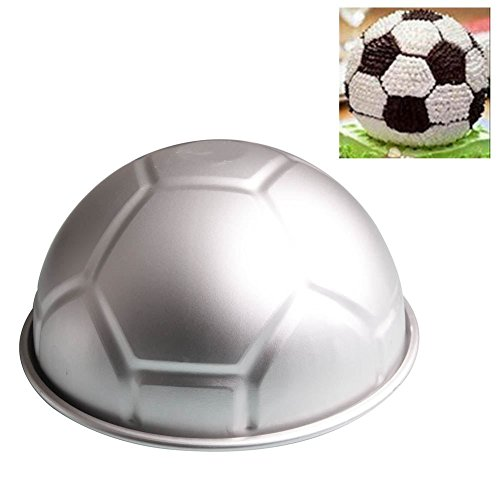 TOOGOO 1 PCS 3D Half Runde Kugelfoermige Fussball Kuchenform 8 Zoll Verdickung Aluminiumlegierung Schimmel Geburtstag Backform