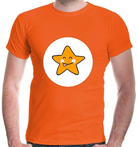 buXsbaum® Herren T-Shirt Glücksbärchi Stern Kostüm Fasching | M, Orange