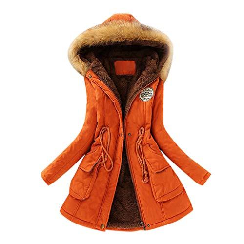 YunYoud Damen Große Größe Mantel Frau Winter Lange Mit Kapuze Jacke Slim Fit Lange Ärmel Jacken Mode Kapuzenpullover Einfarbig Reißverschluss Winterjacke Beiläufig Outwear (M, Orange) -