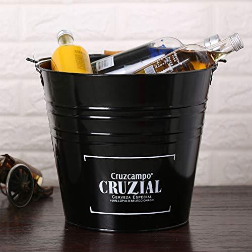 GWW Metal-Champagner Eiseimer,große Kapazität Haushalt Getränke-wanne Runde Weineimer Mit Griffen-schwarz 30x27cm(12x11inch)