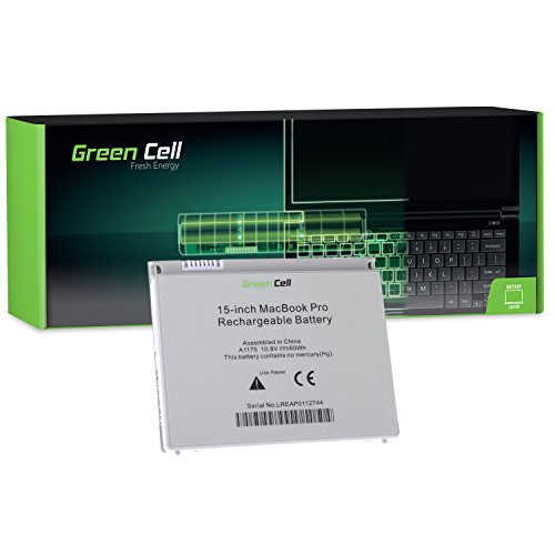 Pro Macbook A1150 Apple (Green Cell® A1175 Laptop Akku für Apple MacBook Pro 15 A1150 A1211 A1226 A1260 2006-2008 (Li-Polymer Zellen 56Wh 10.8V Silber))