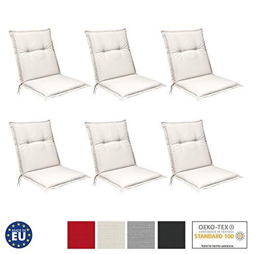 Beautissu 6er Set Niedriglehner Auflagen Set Base NL 100x50x6cm Sitzkissen Rückenkissen Stuhlkissen für Gartenstühle Sitzpolster Natur