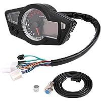 KIMISS Universal 12V Motorcycle Digital LCD Odometer Speedometer Tachometer 15000RPM with Speed Sensor