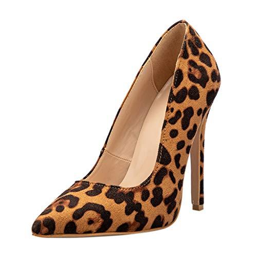 Zapatos de Tacón Alto Aguja para Mujer Verano Sexy PAOLIAN Sandalias Fiesta Vestir Cuña Elegantes Calzado Negocios Puntiagudo Leopardo Grande 36-41EU