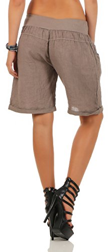malito Damen Bermuda aus Leinen | lässige kurze Hose | Shorts für den Strand | Pants �?Hotpants 3001 Fango