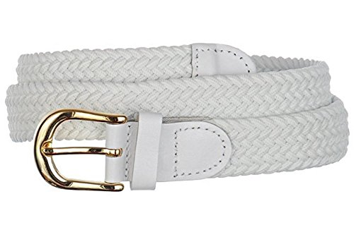 Streeze ceinture élastique pour femmes. 5 tailles. Extensible et tressée. 25 mm de largeur avec boucle en or (Blanc, M)