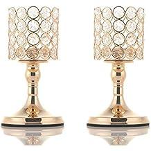 VINCIGANT Cilindro de Oro Candelabros de luz de Té de Cristal para Boda Mesa de Centro