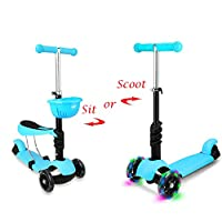 STOTOY Toddler Deluxe 3 3-in-1 Micro Mini Kick Scooter with Removable Seat, LED Flashing Wheels and Adjustable Handlebar for Kids