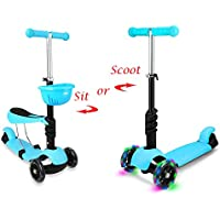 STOTOY Toddler Scooter Deluxe 3 Wheel 3-in-1 Micro Mini Kick Scooter with Removable Seat, LED Flashing Wheels and Adjustable Handlebar for Kids