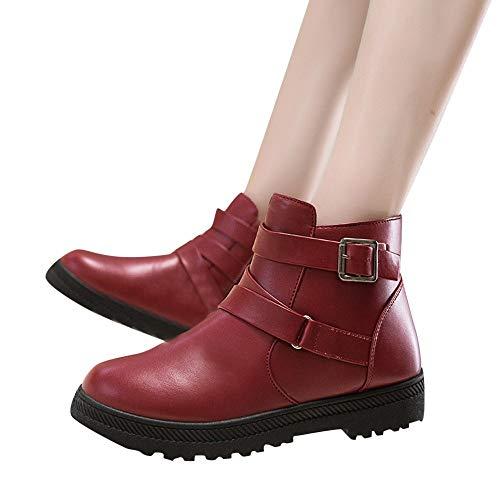 OSYARD Damen Snow Booties Ankle Stiefeletten Klassische s Lederstiefel, Frauen Warme Winter Baumwolle Shoes Runde Kappe Schuhe Schnee Stiefel Zipper Flache Boots(240/39, Rot)