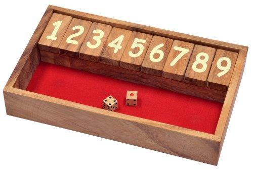 Logoplay Holzspiele Jackpot - Shut the Box - Klappenspiel - Würfelspiel - Gesellschaftsspiel - Spielbox aus Holz