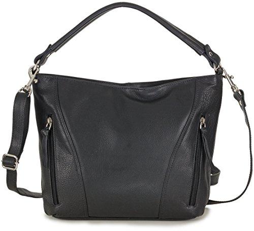 Handtasche echt Leder Damen schwarz Ledertasche Umhängetasche schwarze Schultertasche (31 x 23,5 x 9 cm)