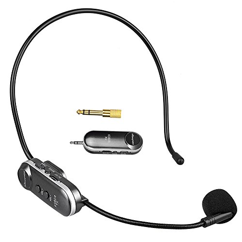 Wireless Mikrofon Headset, Mbuynow In Ear Kopfhörer 2 in 1 UHF Funkmikrofon Wiederaufladbar Bluetooth Headset mit Mikrofon 3,5 mm / 6,5 mm Anschluss für Konferenzen, Unterricht, Fitnesstrainer usw