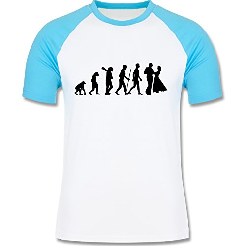 Evolution - Tanz Evolution - zweifarbiges Baseballshirt für Männer Weiß/Türkis
