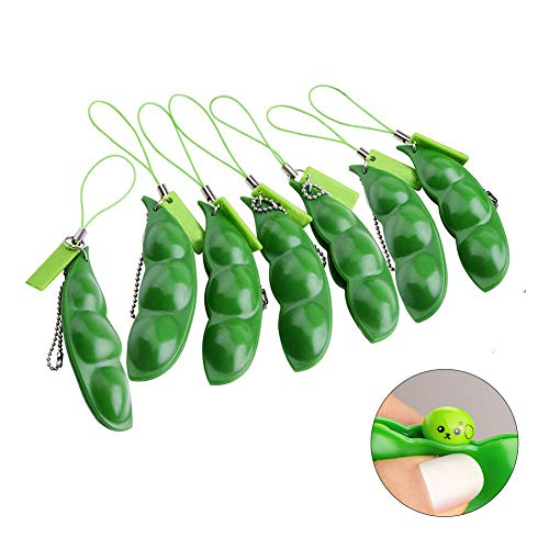 Anpole 7 Pcs Drücken Eine Bohne Sojabohne Niedliche Schlüsselanhänger Anhänger Zappeln Spielzeug Stress Entlastende Anti-Stress für Schlüssel Handy Oder Tasche -