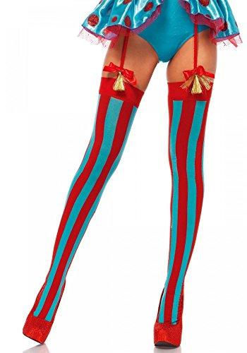 Halterlose Strümpfe Türkis/Rot von Leg Avenue Zirkusclown Clown Sexy ()