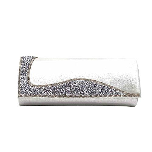 Pacchetto Banchetto Borsa Da Sera Di Diamante Della Moda Sposa Sacchetto Del Messaggero Delle Donne Silver