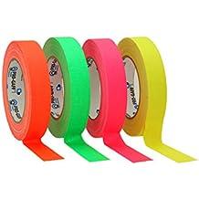 ProTapes/Permacel Gewebe-Klebeband, fluoreszierend, 25mmx22,9m Grün / Orange / Rosa / Gelb