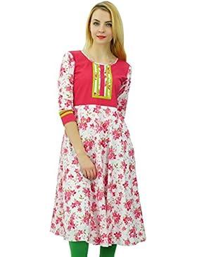 Phagun Anarkali impresa de las mujeres del algodón Kurta étnica Ropa de diseño vestido Kurti