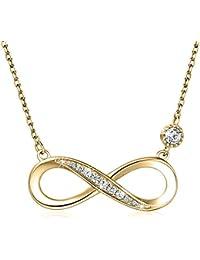 Damen Halskette aus 925 Sterlingsilber Unendlichkeit mit Stein links -  Unendlichkeitszeichen - silber Kette mit Steinchen 7388e65ebd