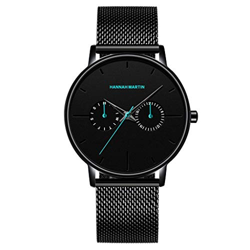n Glas Quartz Uhren Minimalistisches Design Slim Uhr Klassiker Männer Lässige Armbanduhren mit Edelstahl Armband ()