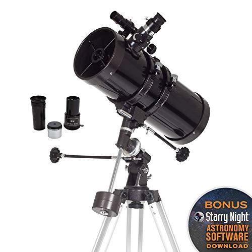 WANZZN Telescopio astronómico, 76/700 AZ telescopio astronómico para Principiantes Juego de astronomía, para La Visualización Terrestre Y Uso Astronómico(con trípode y Accesorios)