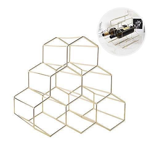 Womdee Weinregal für 6 Flaschen, stapelbar, freistehend, Metall/Kupfer, tragbar, modernes und minimalistisches Design für Weinliebhaber - verkupfert Gold