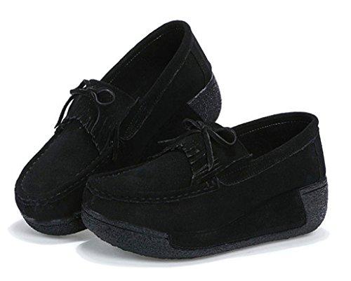 NEWZCERS Chaussures en daim casual femmes avec tassel & bowtie chaussures plate-forme motrice Noir
